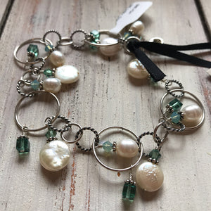 146 Sterling Silver Linky Chain Mermaid Bracelet: Freshwater pearls and Swarovski Crystals 7.5""