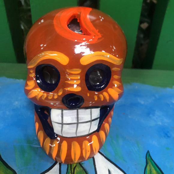 Day of the Dead Skull - Clay - Yellow Tones - Approx 3 in Tall