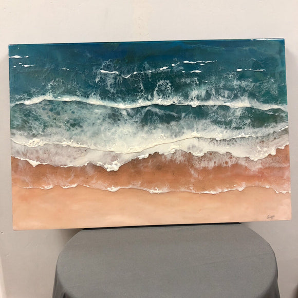 24 x 36 Wall Art-Sand,Acrylic,Paint,,Pigments,Mixed w/Resin Bird/Craddle Wood/ Clean w/Glass Cleaner