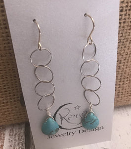 E100 Sterling silver linky earrings w/turquoise teardrops
