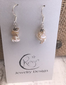 E106 Champagne keshi pearl and sterling silver earrings