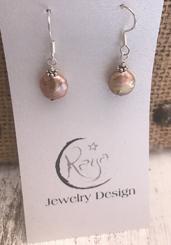 E107 Champagne coin pearl and sterling silver earrings