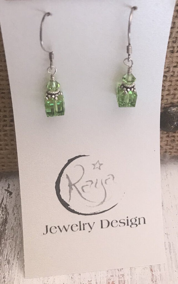 E108 Swarovski crystal - 8mm peridot cube and sterling silver earrings
