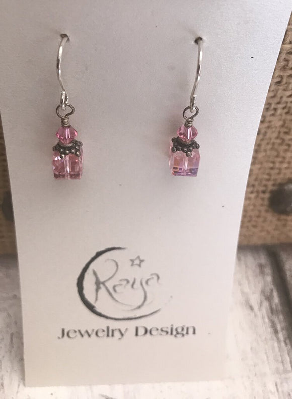 E110 Swarovski crystal - 8mm rose cube and sterling silver earrings