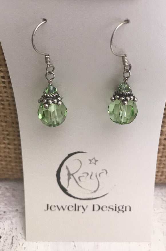 E118 Swarovski crystal - 10mm round peridot and sterling silver earrings