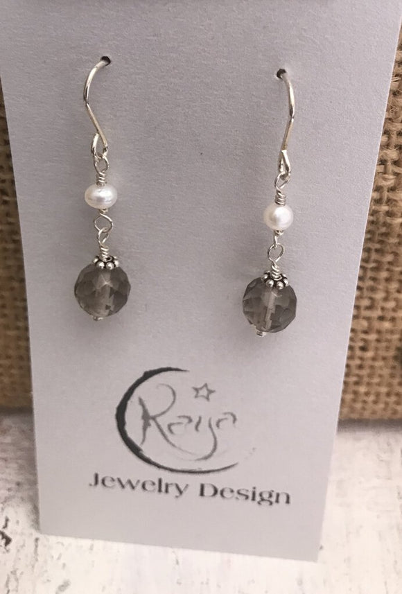 E125 Sterling silver, topaz and freshwater pearl earrings