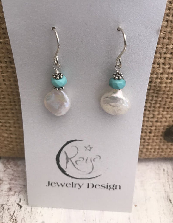 E133 Freshwater coin pearls earrings with sterling silver & faceted turquoise