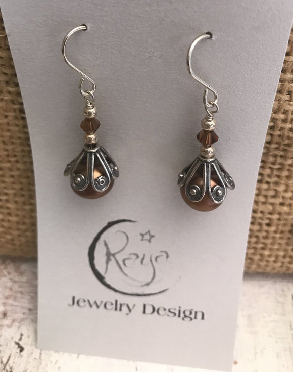 E137 Freshwater pearl earrings - copper, with sterling silver cone bead caps and Swarovski crystals - mocca