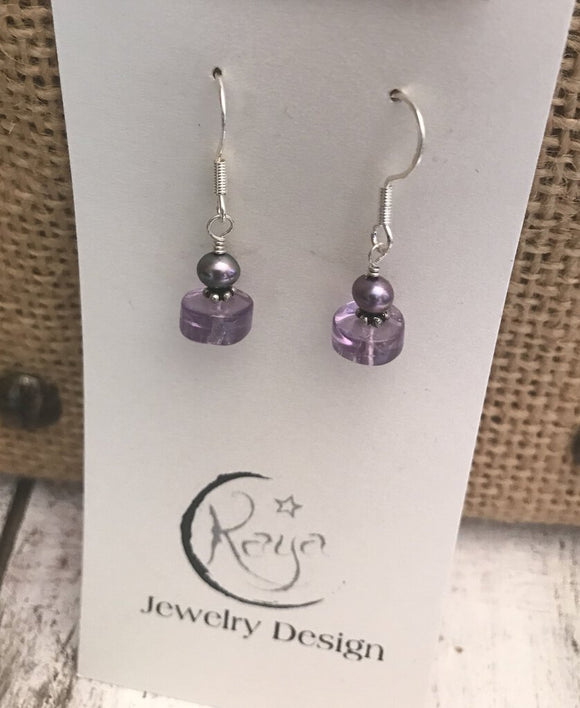 E143 Amethyst, freshwater pearl and sterling silver earrings