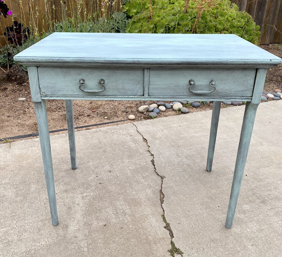 B54 1920's Beachy Painted Oak Desk w/ 2 drawers 33