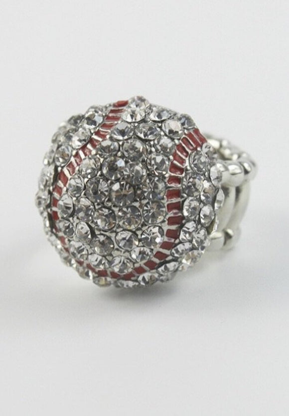 13967 Baseball Bling Stretch Ring