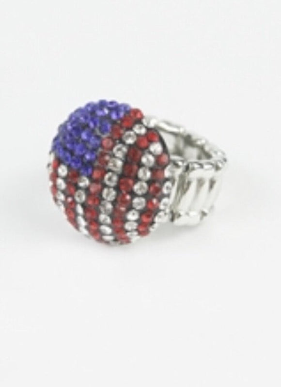 13614 USA Flag Stretch Ring Bling