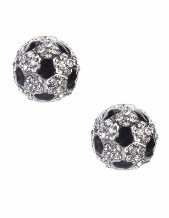 13973 Soccer Ball Bling Earrings-Pierced