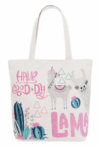 13971 Good Day Llama Canvas Bag w/Zipper