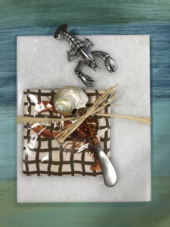 9336 Shellfish Marble Board w/Spreader and Napkins
