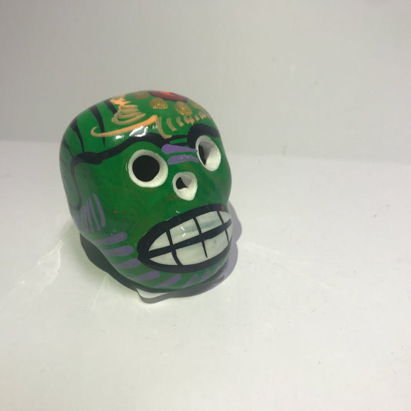 Day of the Dead Skull - Clay - Green Tones - Approx 2 in tall