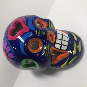 Day of the Dead Skull - Clay - Blue Tones - Approx 3 in Tall