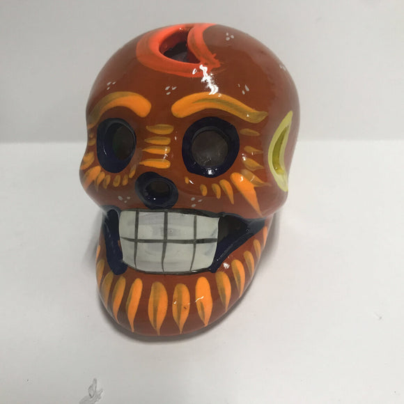 Day of the Dead Skull - Clay - Orange Tones - Approx 3 in Tall