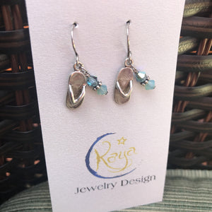 E154 Sterling silver flip flop charm earrings with Swarovski crystals