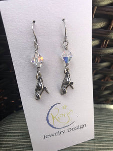 E162 Sterling silver sun glass charm earrings with Swarovski cyrstals