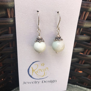 E169 Gemstone and sterling silver earrings