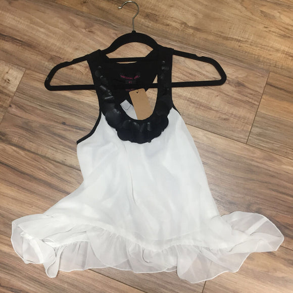 Material Girl White/Black/Leather Tank (XS)