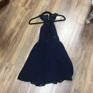 Speechless Navy Blue Sequin Top Dress with Chiffon Bottom and Back Cutout Size 3