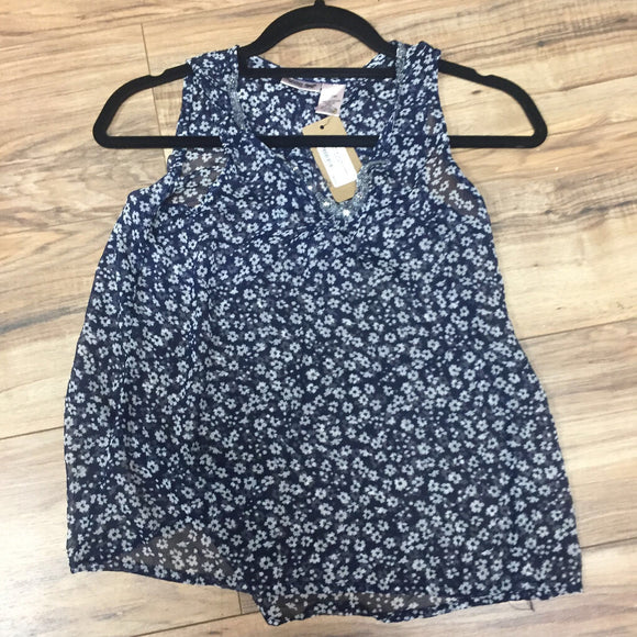 Scooter Brown Navy/White Flower Tank (14)
