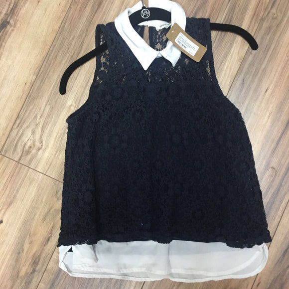 Modcloth Monteau Navy Blue Lace Sleeveless Collared Layer Blouse Women's Med