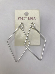 Sweet Lola Silver Geometric Earrings (pierced)1.75 x 3""