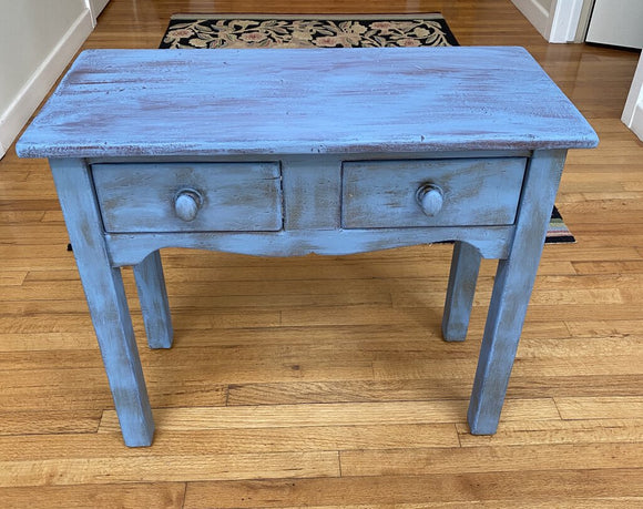 C27 Sweet Side Table w/ 2 Drawers hand painted French Blue 26 1/2 w x 12 1/4