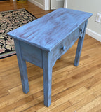 "C27 Sweet Side Table w/ 2 Drawers hand painted French Blue 26 1/2 w x 12 1/4"" d x 22 3/4"" h"