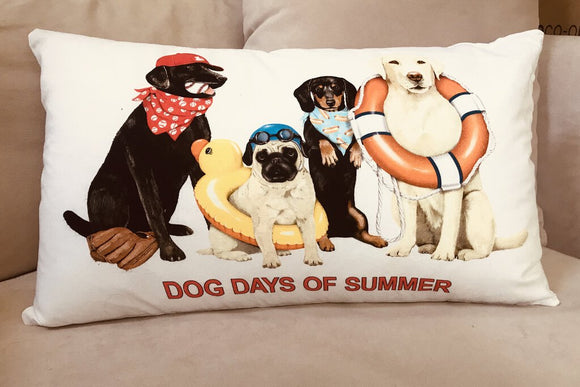 13979 Dog Days Cotton Pillow 24 x 14