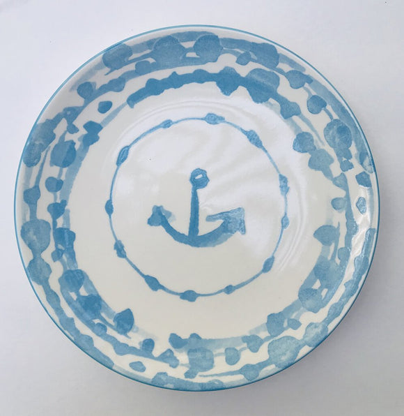 13985 Round Nautical Stoneware Plate, Sky Blue, 8.5