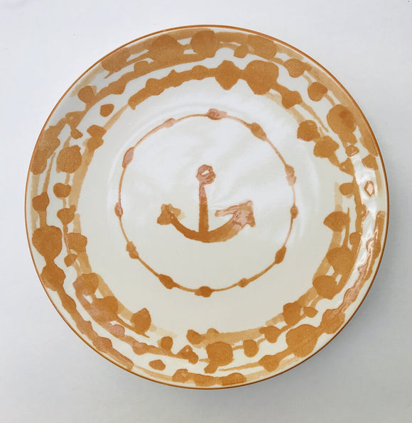 13985 Round Nautical Stoneware Plate, Gold, 8.5