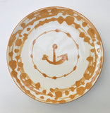 13985 Round Nautical Stoneware Plate, Gold, 8.5""
