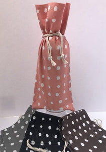 "13989 Cotton Polka-Dot Wine Bag w/draw tie-Coral/White, 13.5"" x 6"""