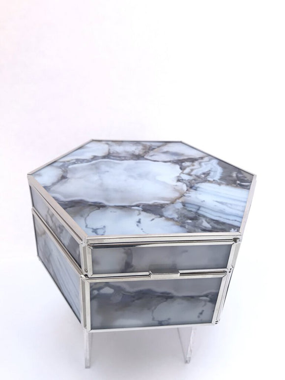 Abbey Jewelry Box-Hex, Faux Stone, Grey/Brown Tones, 6.5