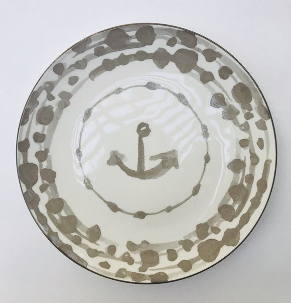13985 Round Nautical Stoneware Plate, Grey, 8.5