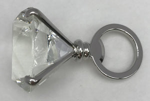 "Fancy Diamond Bottle Opener-Silver, Clear Glass, 3.25"" x 2"""