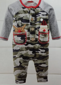 Reindeer & Santa Pocket One-Piece (0-3)