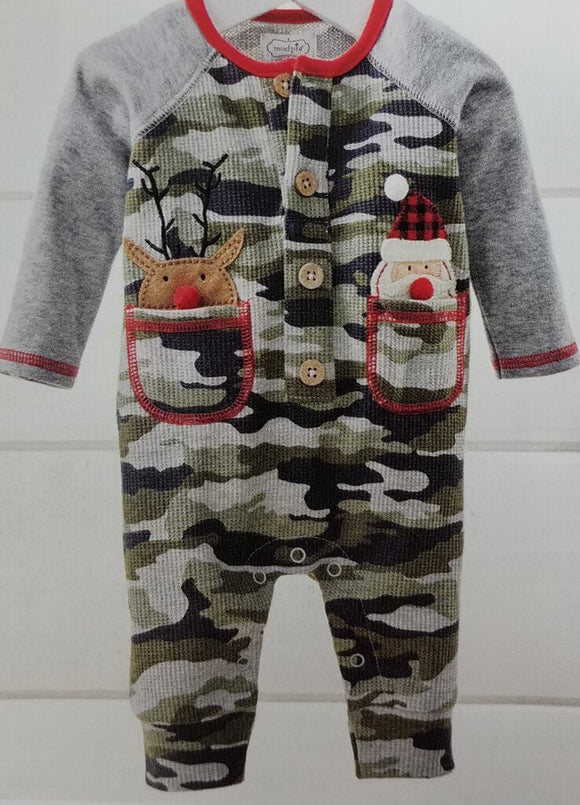 Reindeer & Santa Pocket One-Piece (3-6)