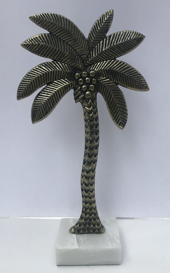 Brass Palm Tree Decor on Marble Stand 19h x 9.5w