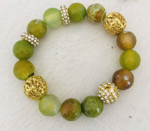 13237 Lg Stone Stretch Bracelet-Lime Green/Gold Beads