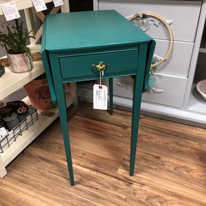 "Mahogany Drop Leaf Table 1 Drawer Painted ""Renfrew Blue"" 31.5W,27H,22D"