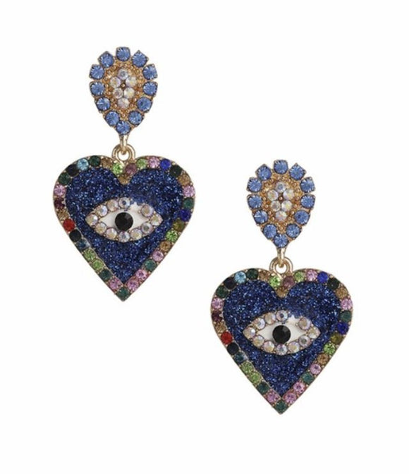 14054 Heart Devil Eye Earrings-Blue