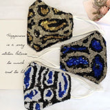 14082-Blue/White Leopard Sequin Mask