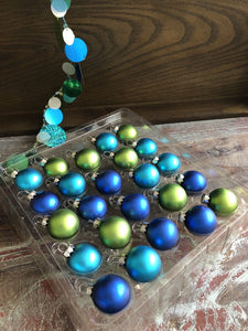 Set of 24 Coastal Colors Glass Ornaments 11/2""