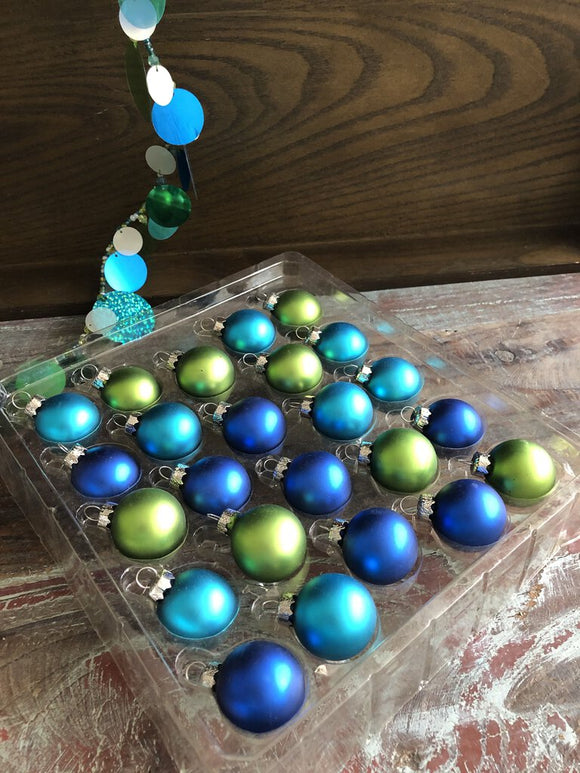 Set of 24 Coastal Colors Glass Ornaments 11/2