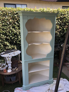Vintage Solid Maple Corner Hutch painted with Fusion Mineral Paint Limestone and Brook